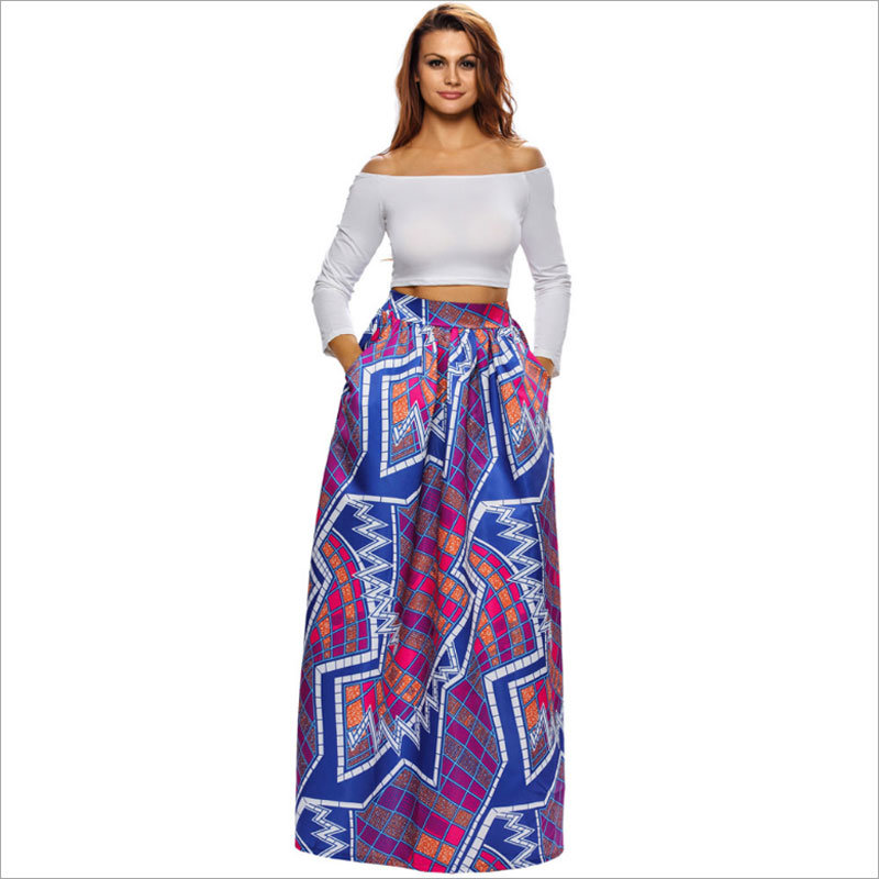 High-Waisted Abstract Floral Paint Long Full Skirt with Pocket