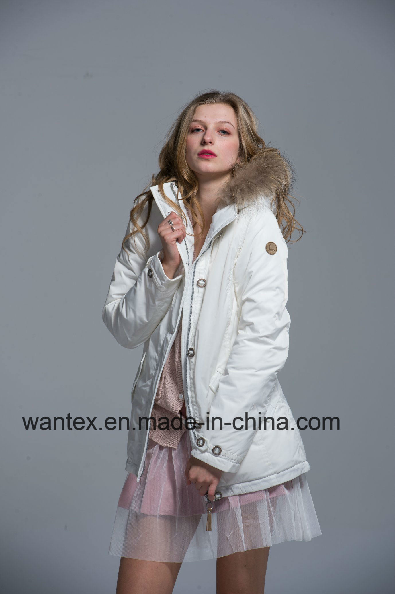 Ladies Loose Padded Coat Dress Fashion Autumn Winter Nylon White Warm