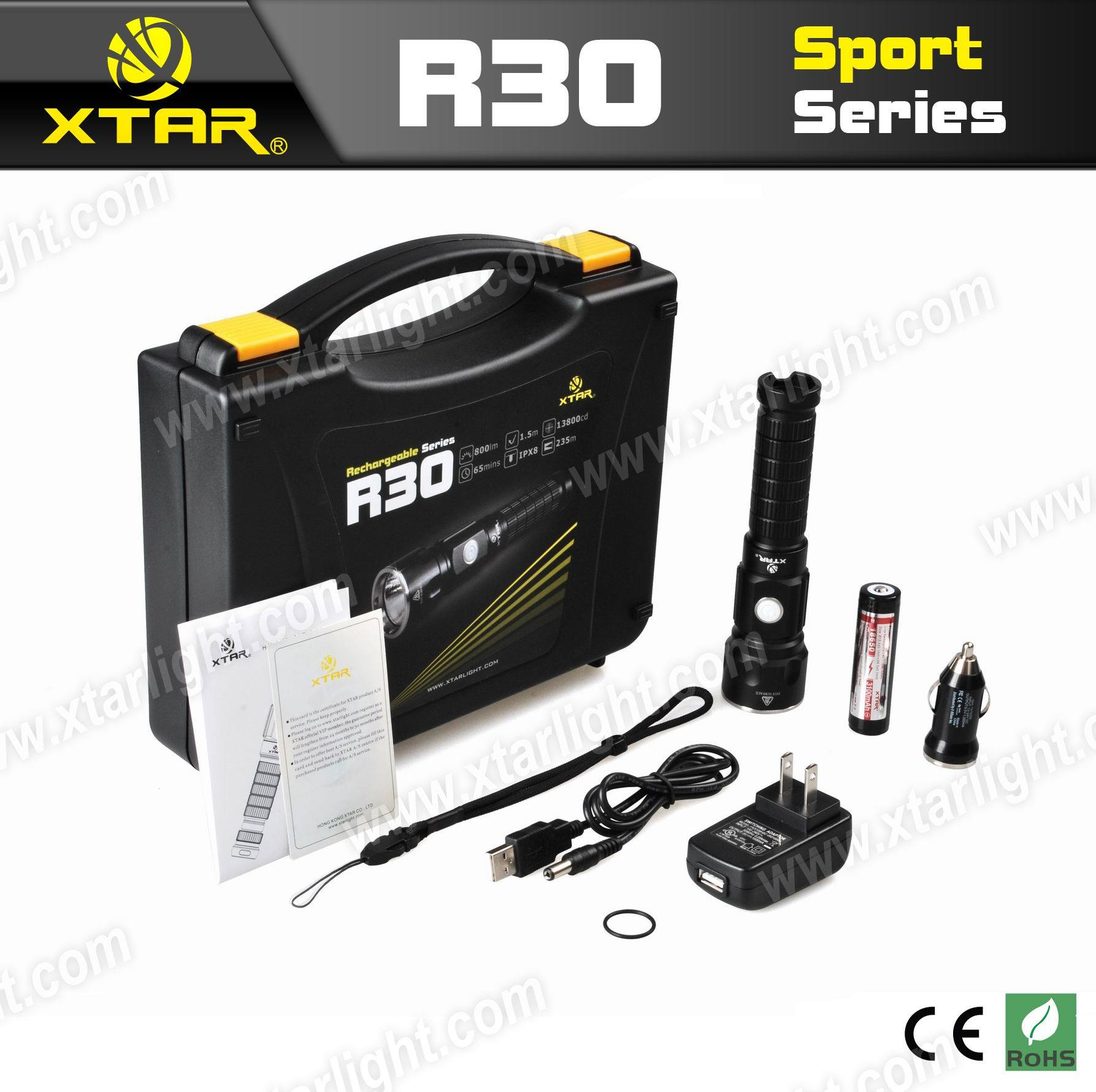 Professional High Lm Rechargeable Flashlight for Camping, Daily Used (XTAR R30)