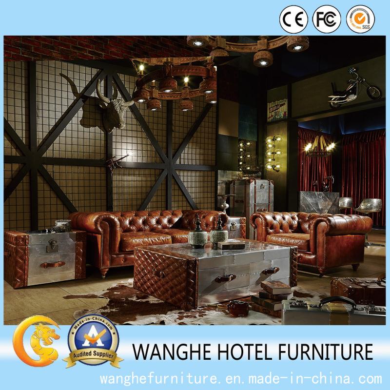 Best Price European Antique Furniture Set Leather Sofa Set for Living Room