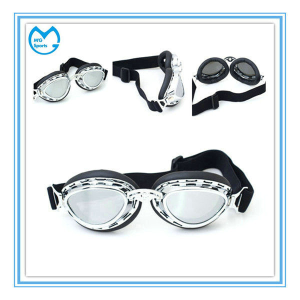Customized Mirrored PC PU Leather Motocross Harley Sunglasses