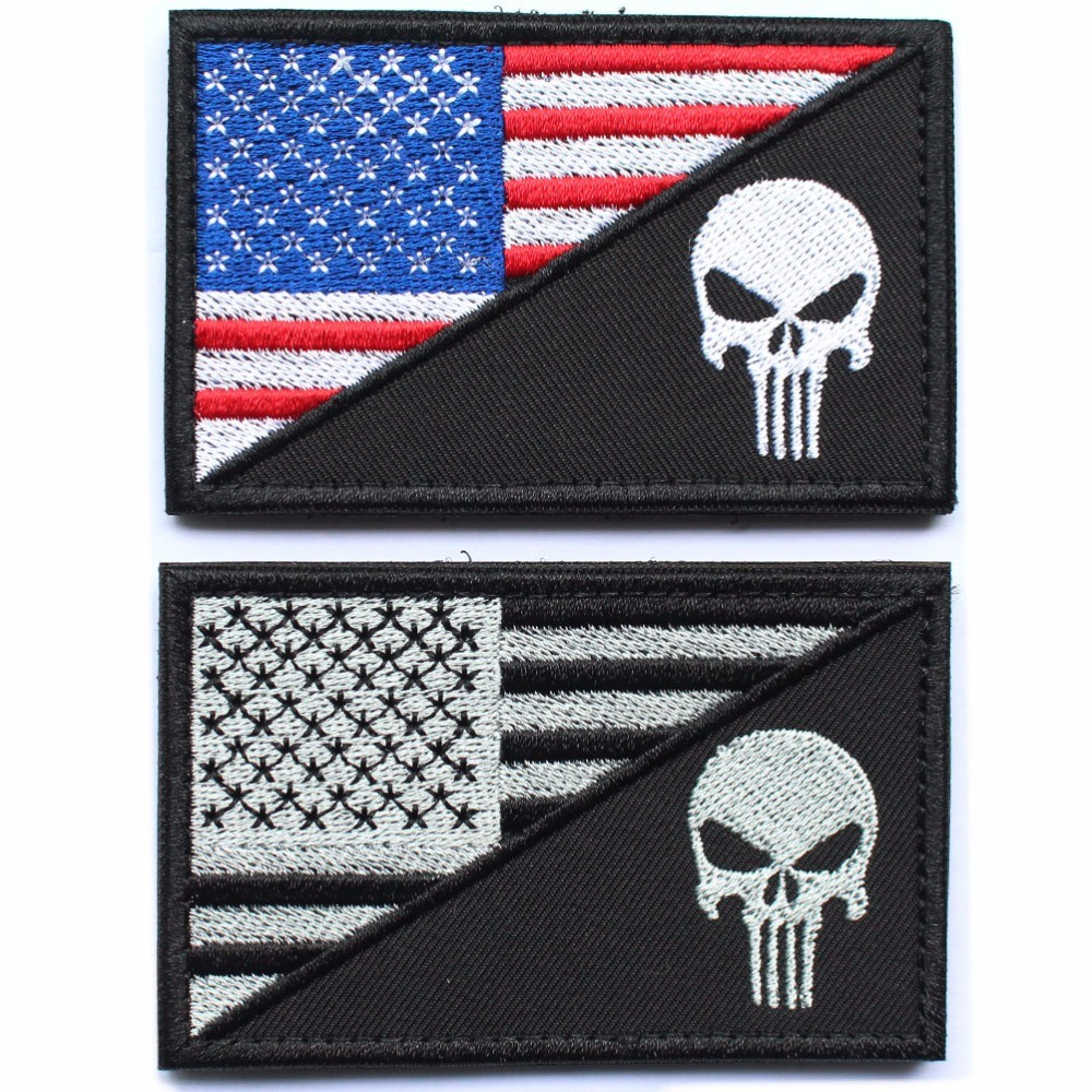 Punisher Skull American USA Thin Blue Line Law Enforcement Flag Devgru Seal Team Si Vis Pacem PARA Bellum Embroidered Patch