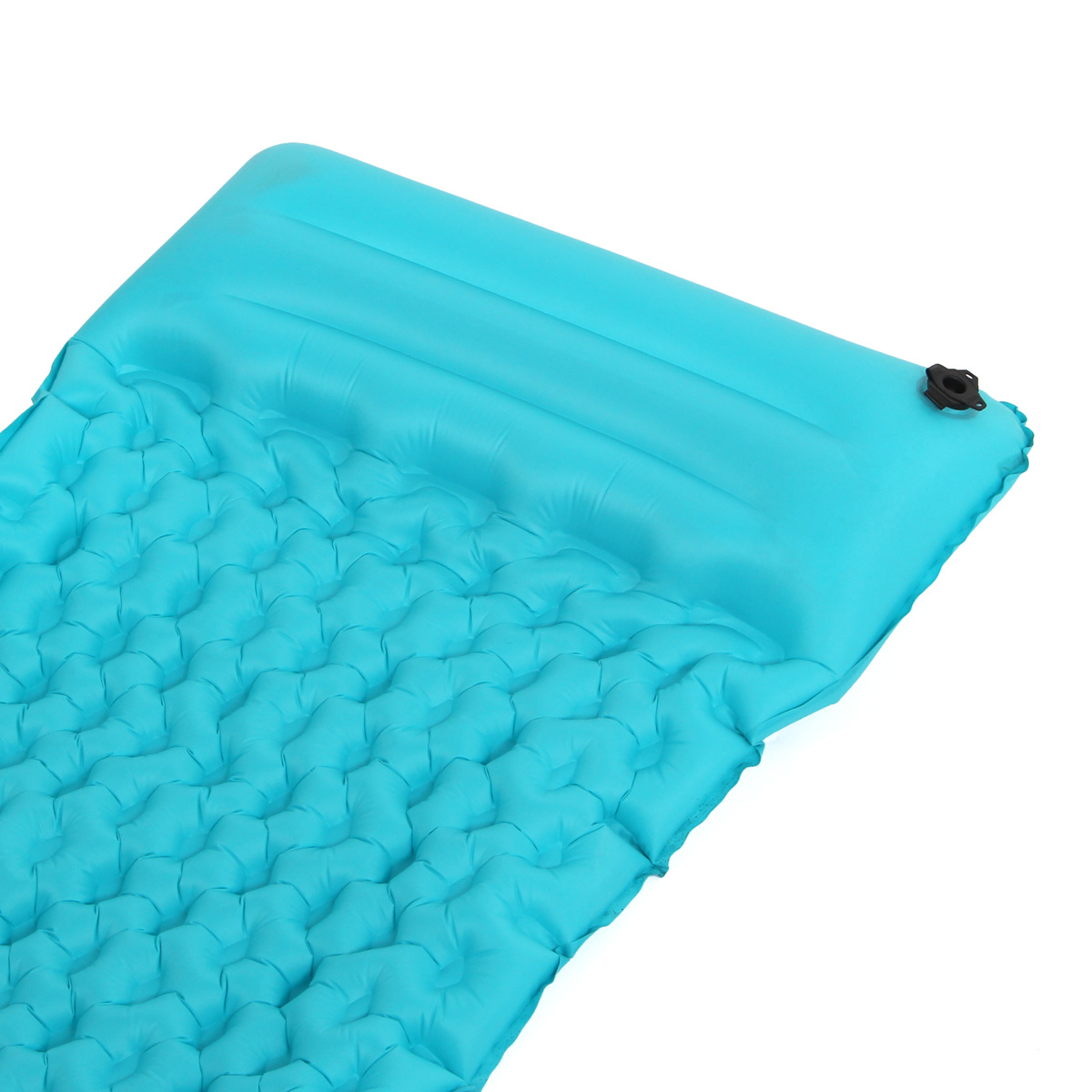 Inflatable Fabric Camping Mattress with Built-in Pillow.