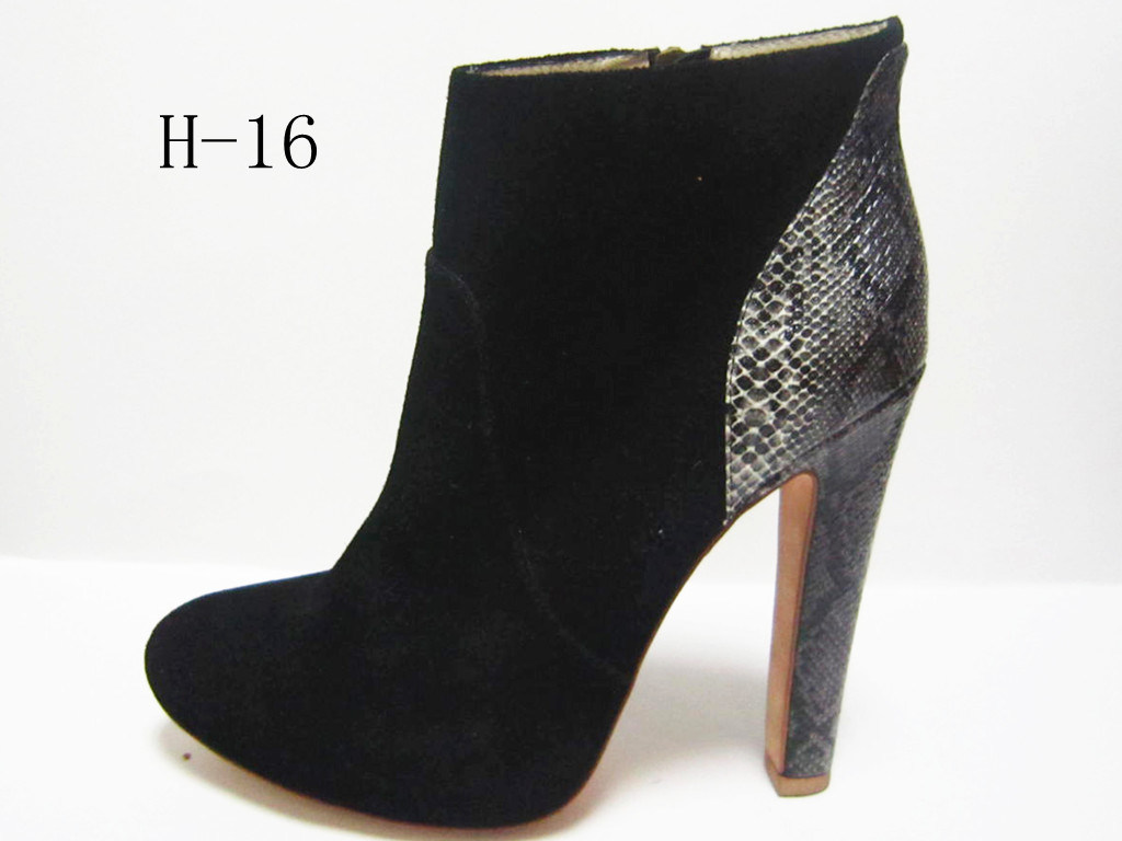 Lady Dress Leather/PU High Heel Ankle Shoe Boots (H-16