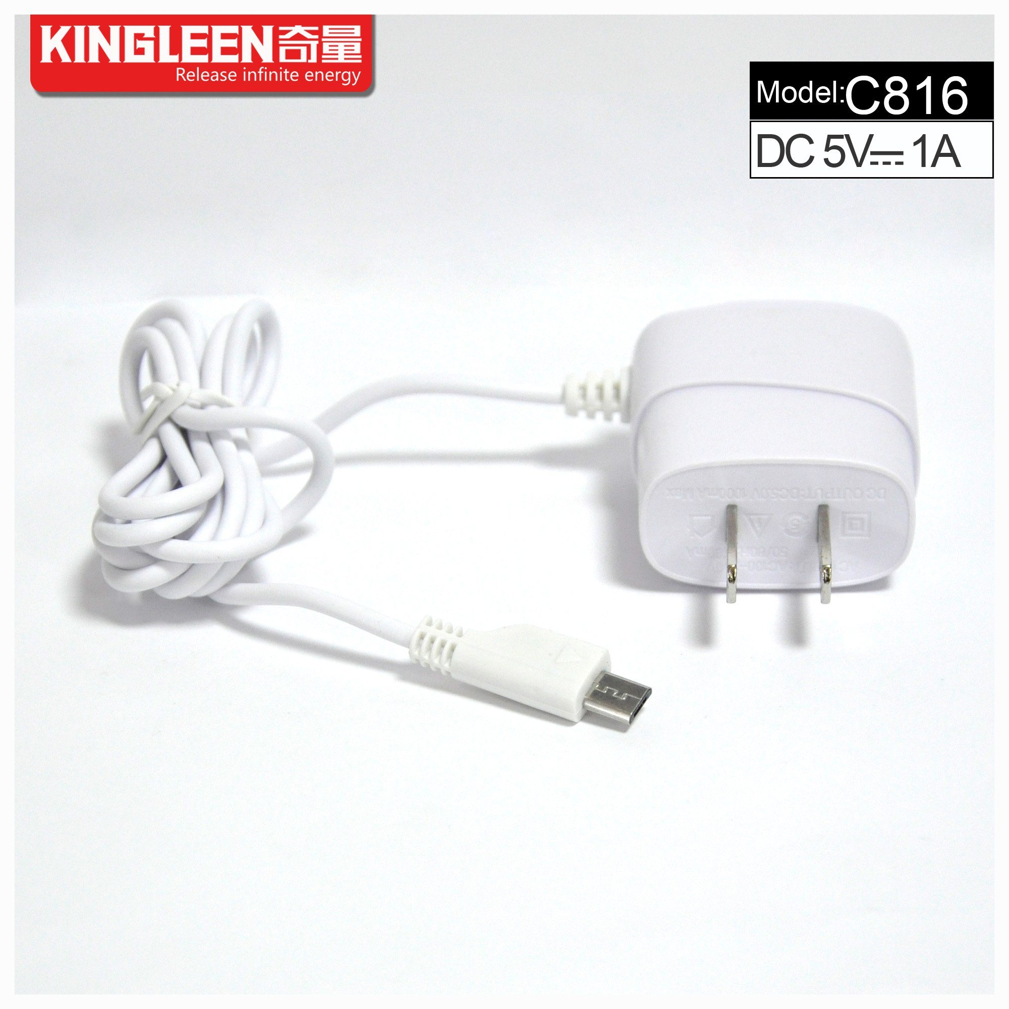 Kingleen C816 Mobile Travel Charger for Mirco, 1.2mwire, 5V1a, Intelligent Direct Charger Export to Europe