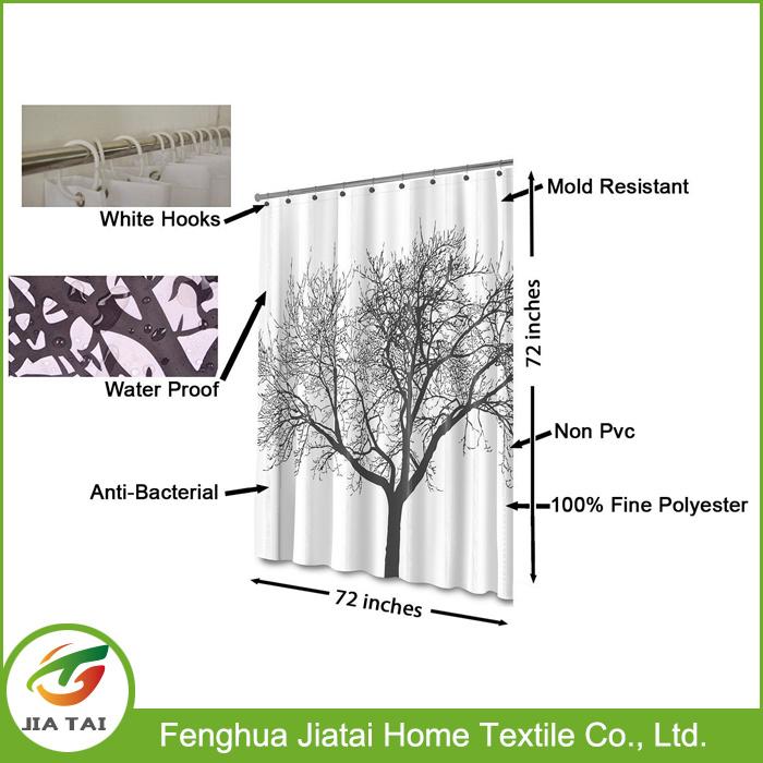 Polyester Black White Best Elegant Tree Shower Curtain