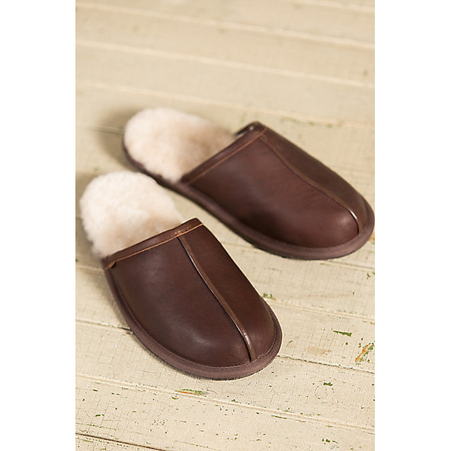 Genuine Leather Men′s Indoor Scuff Sheepskin Slippers