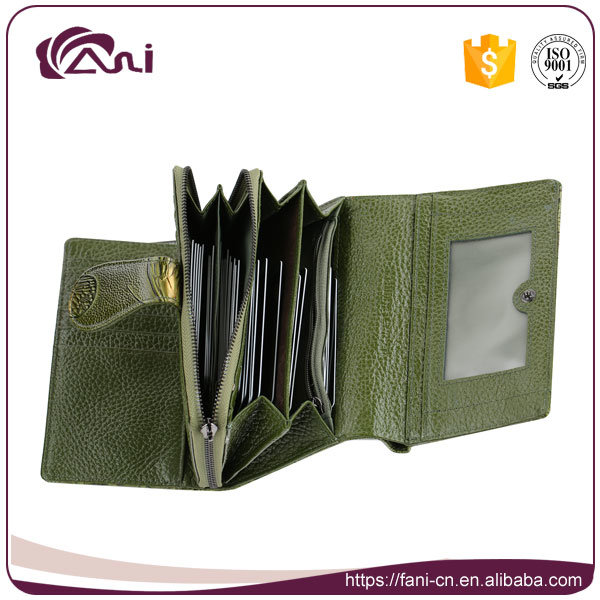 Green Color Middle Size Butterfly Embossing Printed Wallet