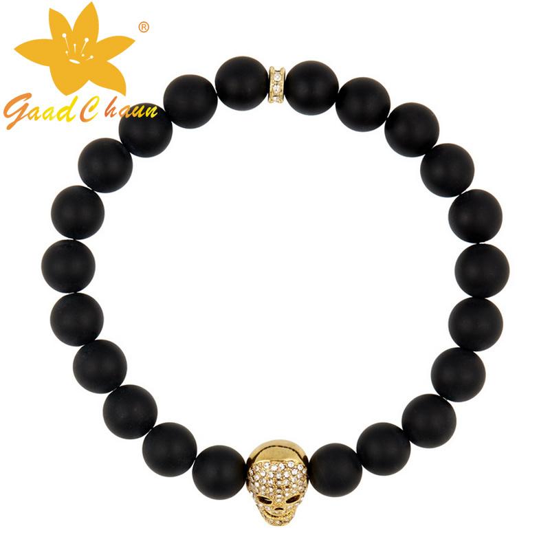 SMB-16120202 Aliexpress Hot Sale Black Agate with Skull Semi Precious Bracelet