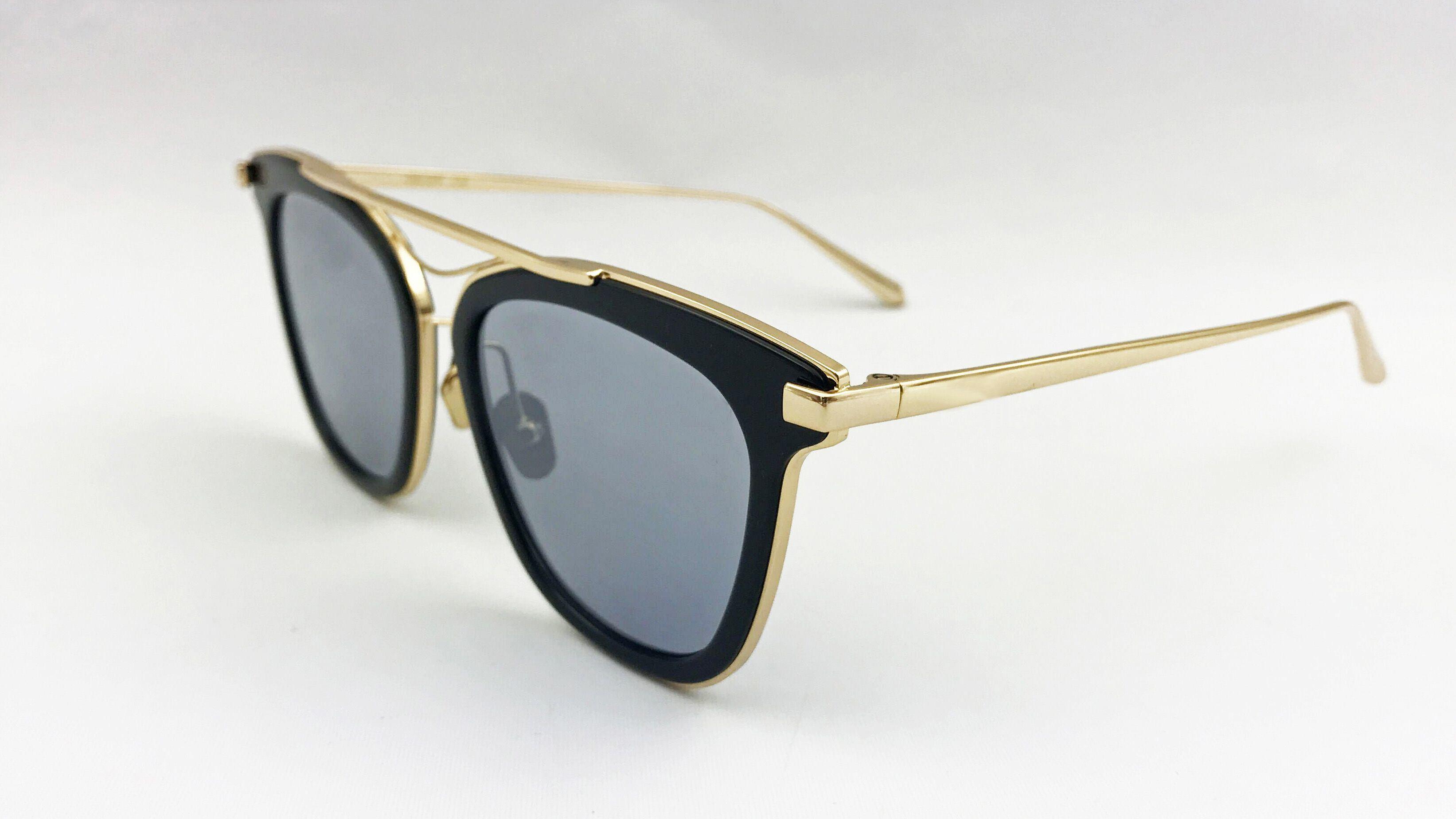 Elegant Black Acetate Eyewear for Lady Block Temple in K. Gold Plating