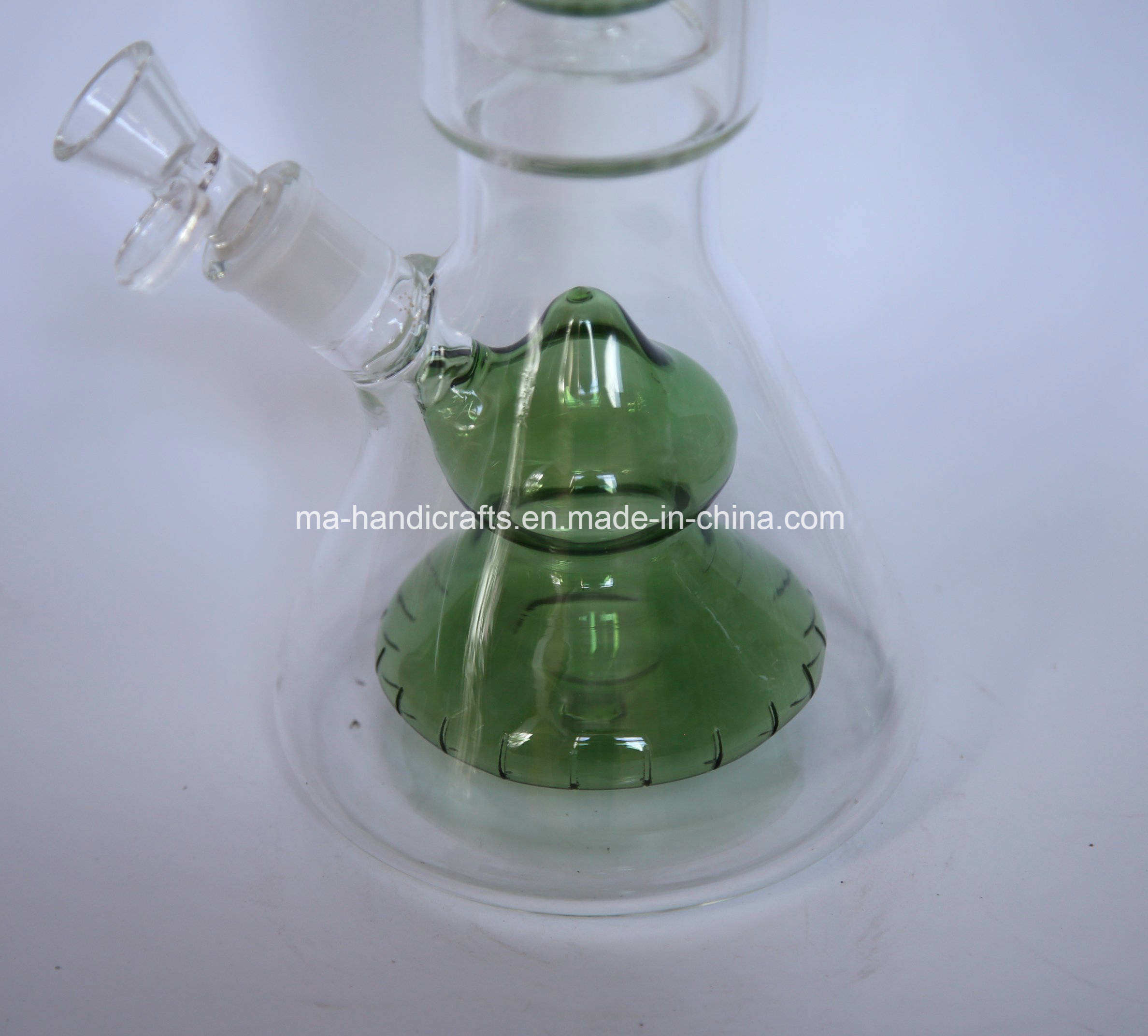 "21"" Bottom Beaker Glass Water Pipes with Double Netted Disc Perc"