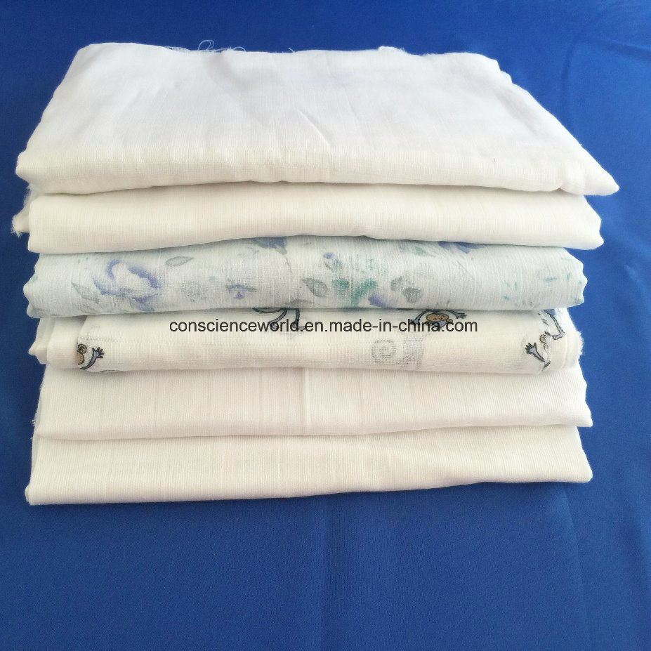100%Cotton Printed/White Double Layers Muslin Fabric for Baby Diaper