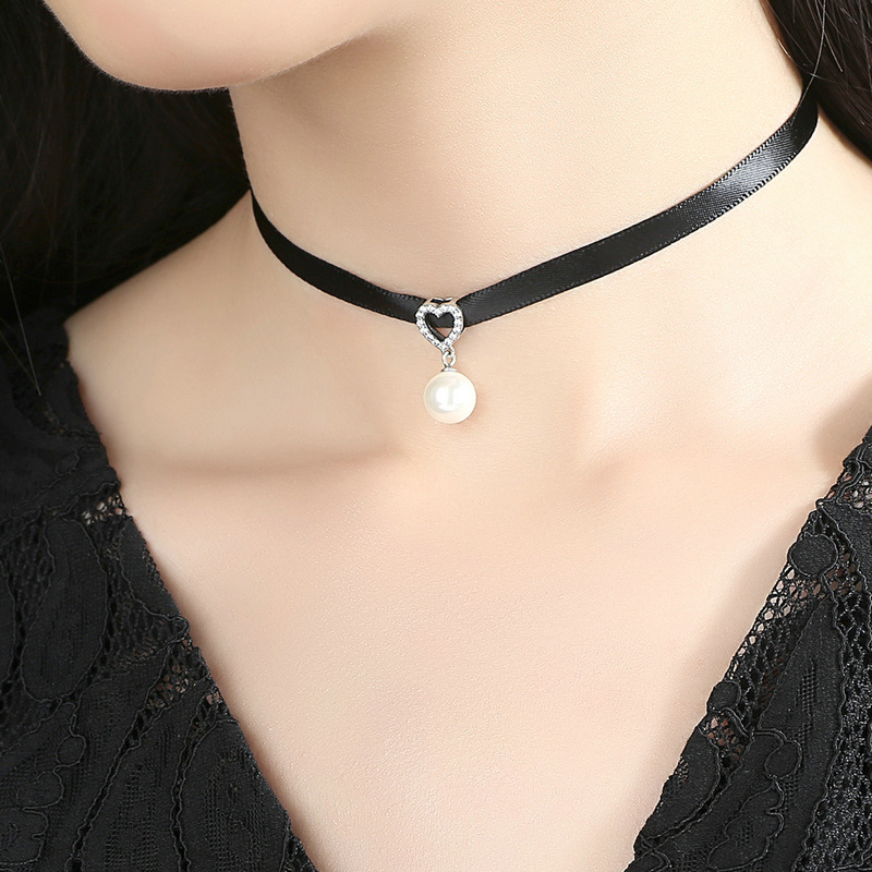 925 Sterling Silver & Black Braid Heart Pendant with Clear CZ Choker Necklace