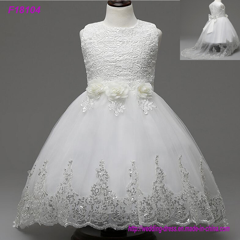 2017 Beautiful White Flower Girls Dresses Beaded Lace Appliqued Bows Pageant Gowns for Kids Wedding Party