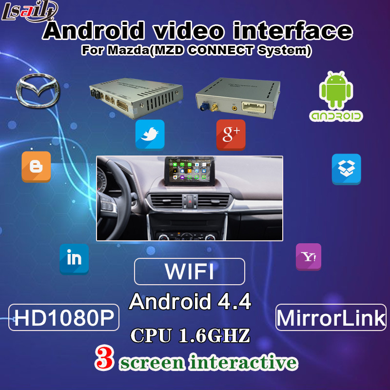 HD Android Video Interface for Mazda Connect System, Support Touch/WiFi/Bt/TV/DVD/Mirrorlink