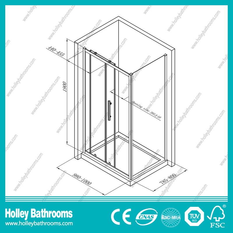 Clean Cut Rectangle Shower Sliding Enclosure with Aluminium Alloy Frame (SE906C)