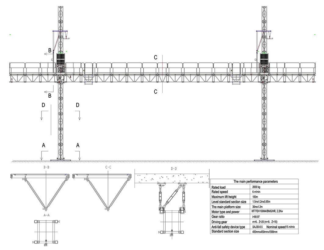 Mast Climbing Work Platform/Table Ce Certification