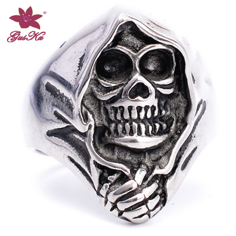 Fashion EU Style Skull Cross Punk Rock Ring Stainless Steel Cool Jewelry Gus-Stfr-023