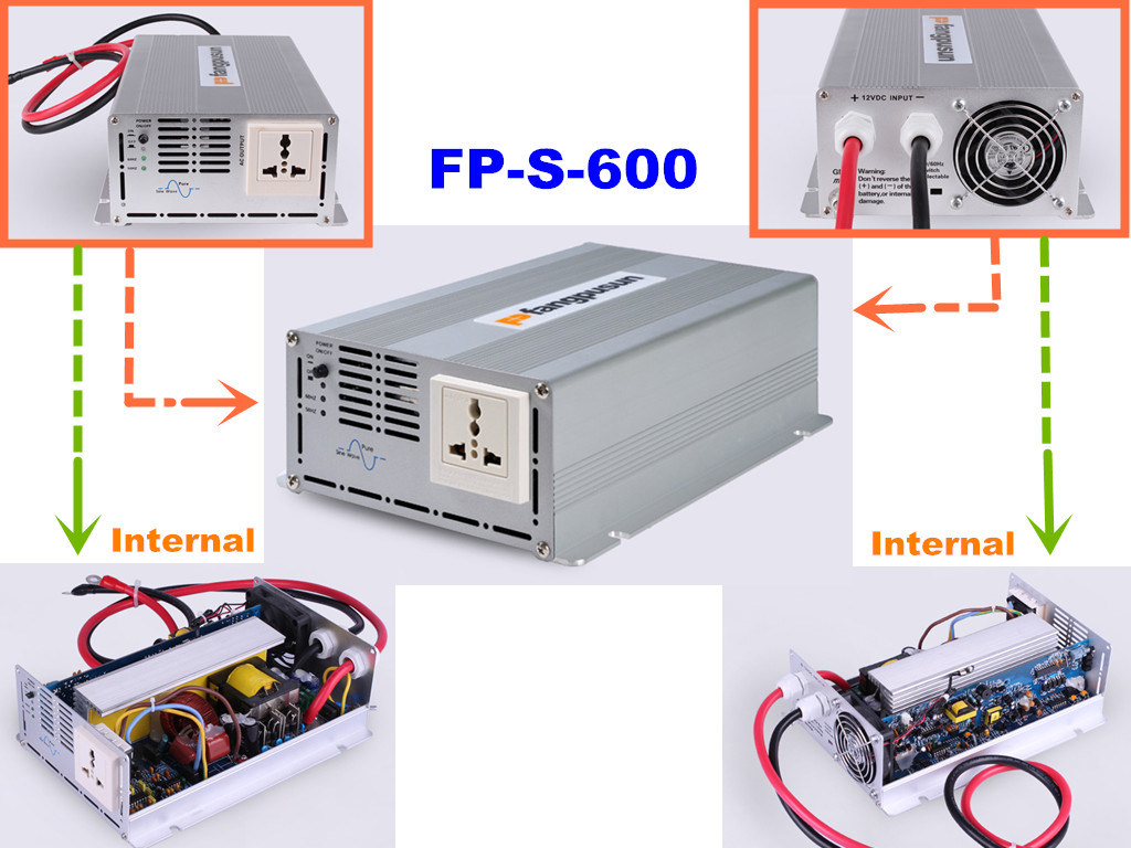 Ce RoHS Fp-S-600 Single Phase Pure Sine Wave DC to AC Car Power Inverter / 600W 12V-230V Solar Inverter
