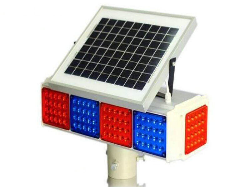 Solar Traffic Warning Flash Light with Blue and Red LED