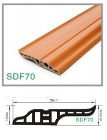 Wood Grain Decorative PVC Plastic Flooring Wall Skirting Board