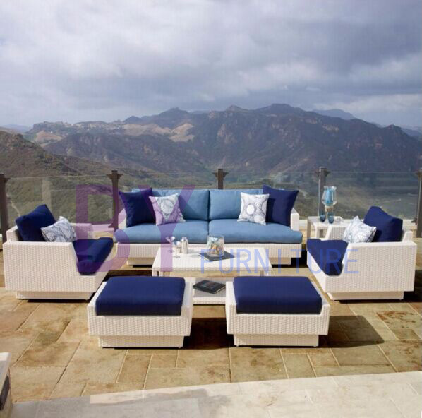 by-470 Luxury Garden Sofa Wicker White Rattan Outdoor Furniture