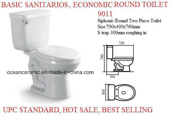 9011 Economic Round Siphonic Two Piece Ceramic Toilet