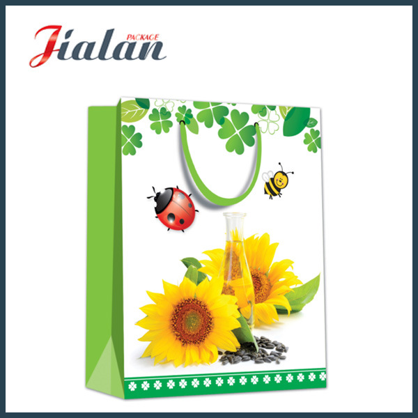 128GSM Glossy Laminated Coated Paper Sunflowers Shopping Gift Paper Bag