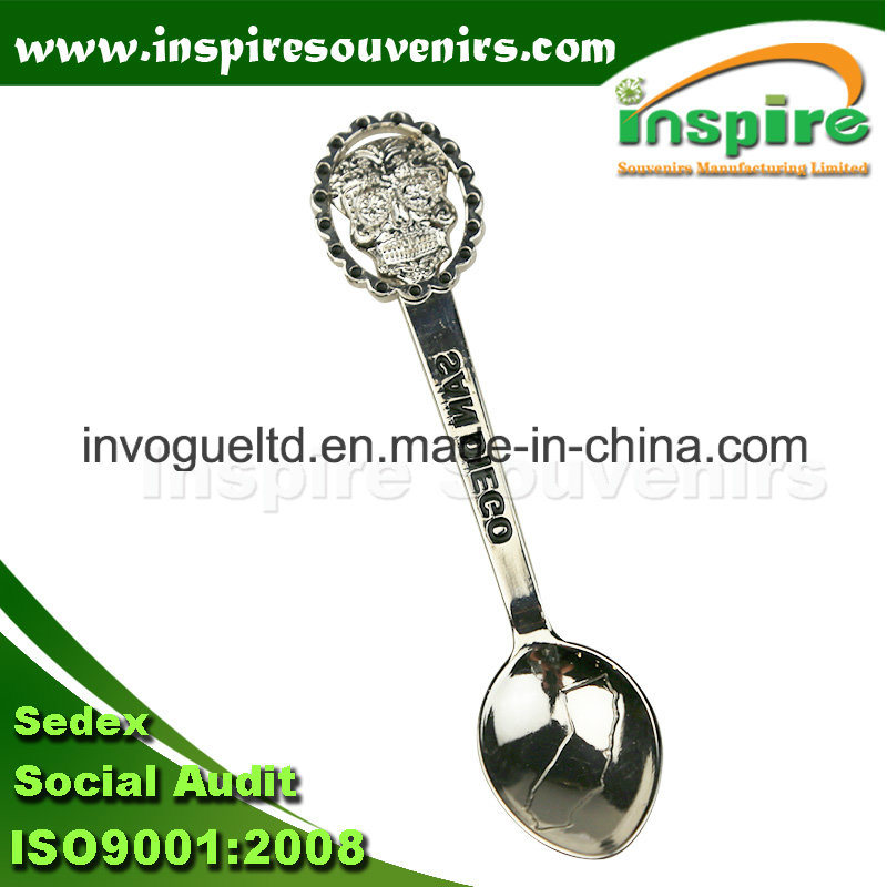 Silver Skull Embossed Metal Spoon for Gift
