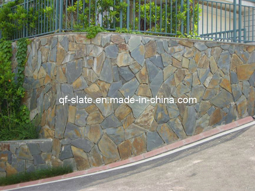 Natural slate wall random baldosas de piedra para el for Baldosa pared piedra