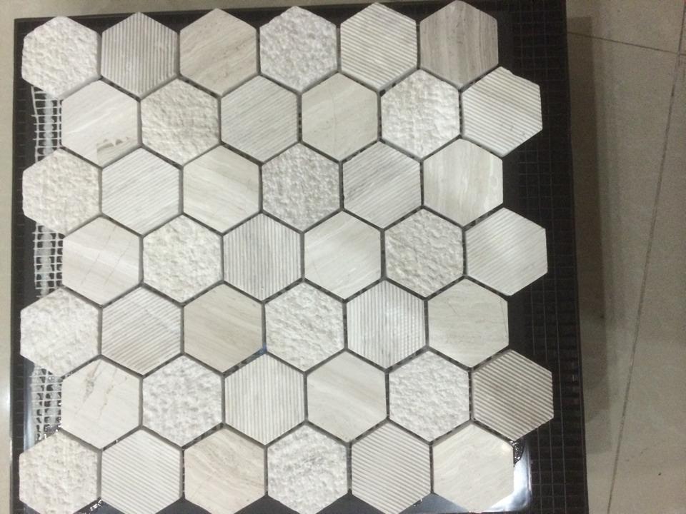 Mosaïque de Marbre en Pierre Normale D'hexagone Blanc de Carrare ...