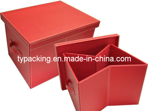Caja de almacenaje decorativa plegable de cuero roja del - Cajas de almacenaje decorativas ...