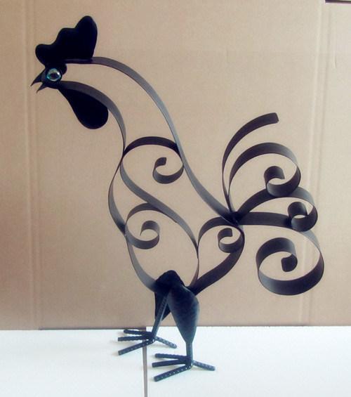 Ornamento animal del metal decoraci n del gallo del for Decoracion para pared en hierro