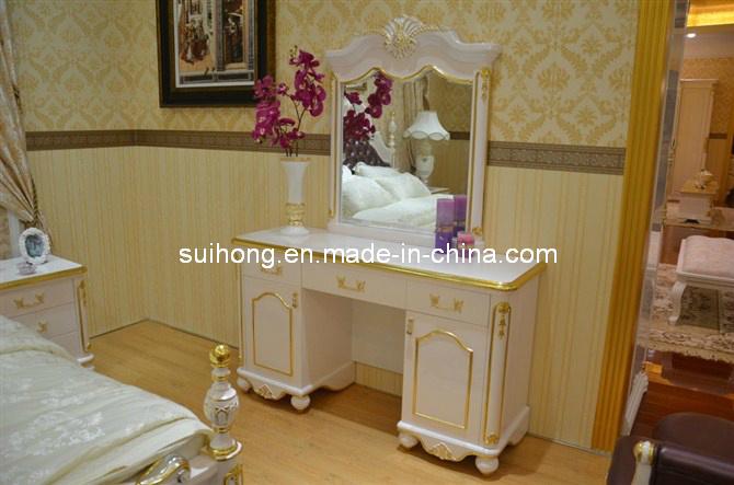 De de houten toilettafel en kruk van het meubilair van de slaapkamer de de houten toilettafel - Kruk voor dressing ...