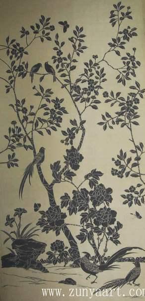 Papel pintado de seda pintado a mano wallcoverings del - Papel pintado a mano ...