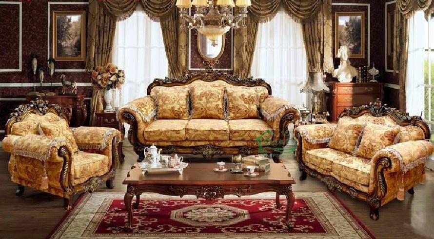 Fabric de madera sofa para la sala de estar furniture for Sala de estar madera
