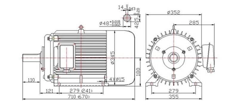 motore a magnete permanente senza spazzola di 35kw