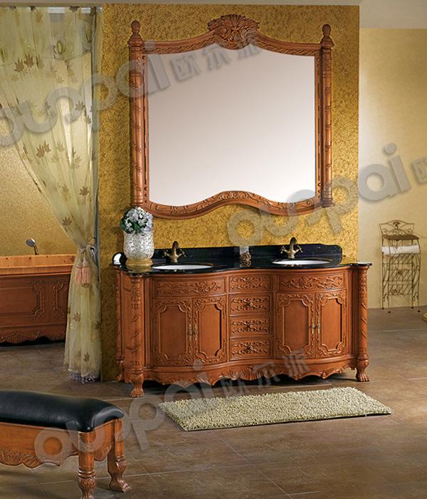 Vanit de cabinet de salle de bains en bois plein salle de for Cabinet pour salle de bain