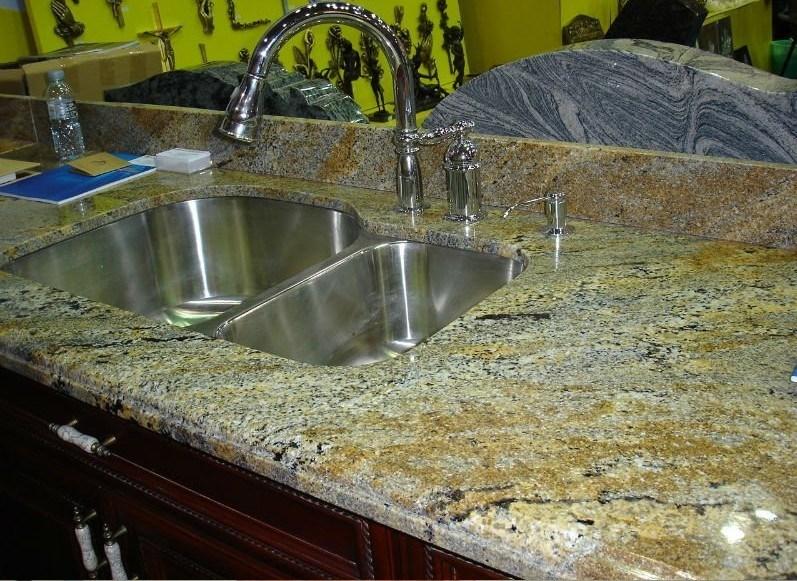 Encimera amarilla del granito encimera de piedra natural - Encimeras de piedra ...