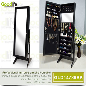 armoire en bois de bijoux de stockage de miroir de meubles. Black Bedroom Furniture Sets. Home Design Ideas