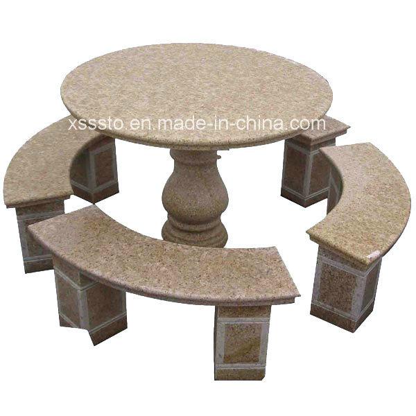 Tablas de jard n al aire libre y sillas de piedra bancos for Bancos de granito para jardin