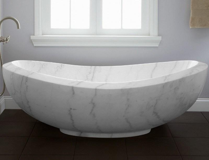 Banheira de pedra de mármore branca do banheiro para a cuba da massagem –Banh -> Cuba Banheiro Branca