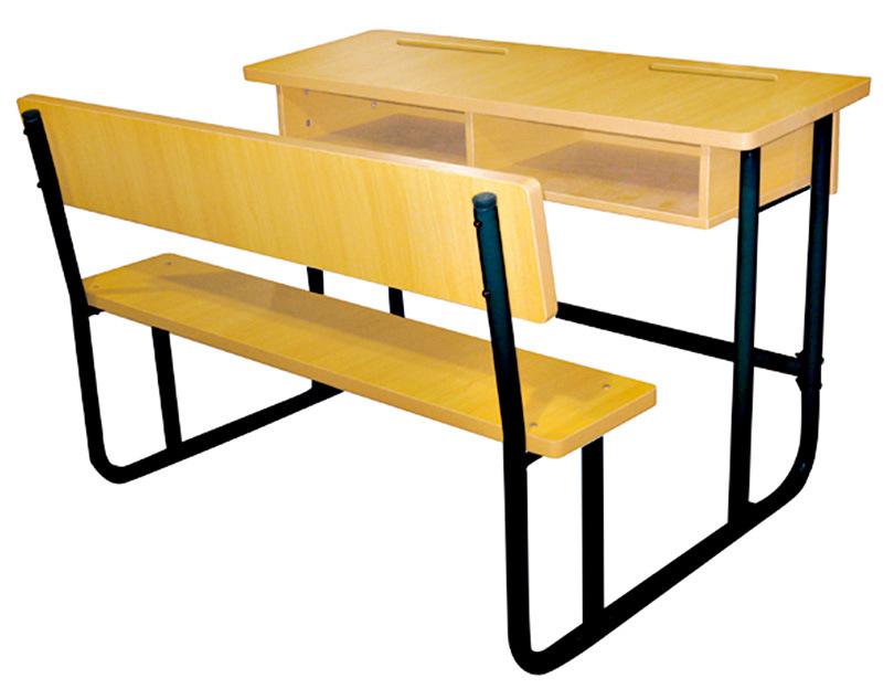 Het dubbele meubilair van het klaslokaal van school van het bureau en van de stoel van de - Meubilair van de ingang spiegel ...