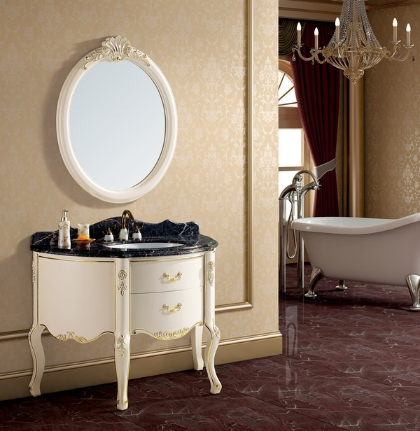 Muebles De Baño Antiguos:Antique White Bathroom Vanity with Marble Top