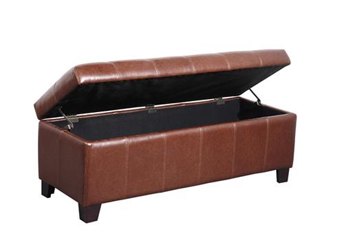 Taburete de cuero del pie con el almacenaje eo8014 for Taburete pie de cama