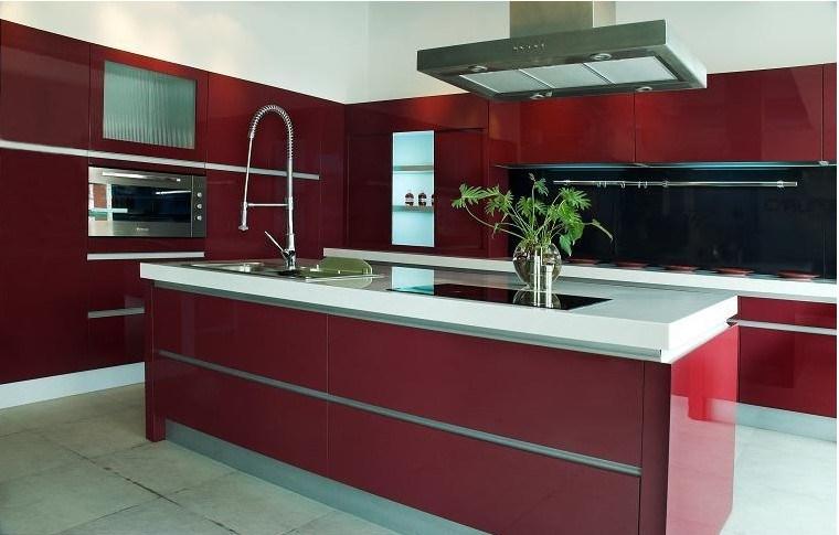 Projeto moderno vermelho da mob lia da cozinha da laca do for Mobilia normal