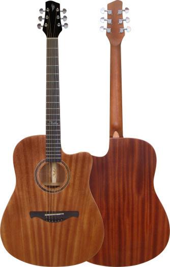 Guitare acoustique coupée en bois dacajou stratifiée de