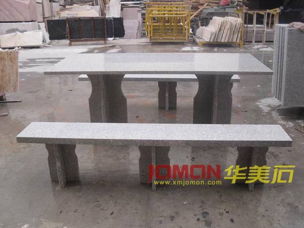 granite gris table stone table et bench xmj gt30. Black Bedroom Furniture Sets. Home Design Ideas