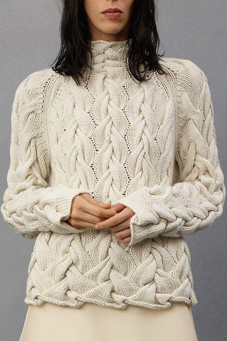 Knitting Wear Company : De dames vormen volledige kabel gebreide witte sweater