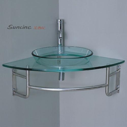 Lavabo de cristal de la esquina tempered 801 lavabo de - Lavabo de esquina ...